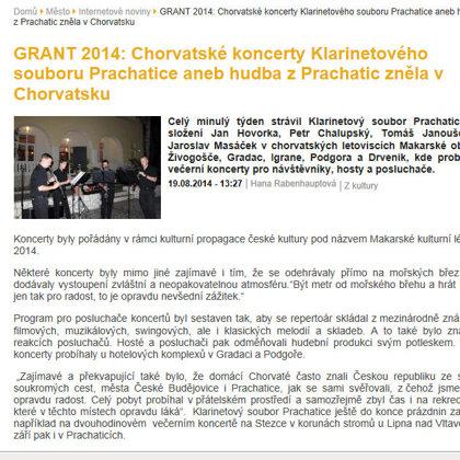 Klarinetový soubor Prachatice - koncerty v Chorvatsku / Web města Prachatice 24.8.2014