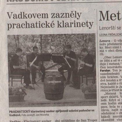 Vadkovem zazněly prachatické klarinety / Prachatický deník U nás doma 17.6.2015