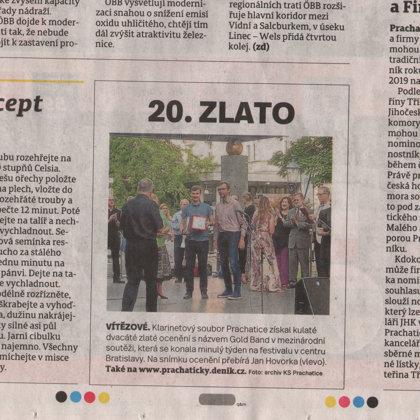 20.zlato / Prachatický deník 9.7.2019
