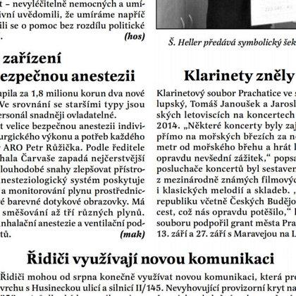 Klarinety zněly v Chorvatsku / Radniční list Prachatice srpen 2014