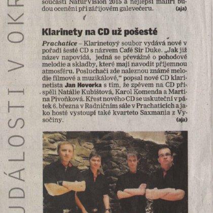 Klarinety na CD už pošesté / Prachatický deník 16.2.2015