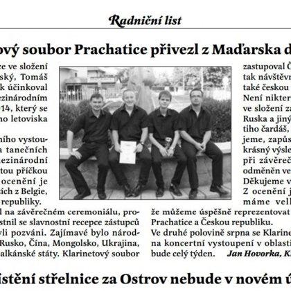Klarinetový soubor Prachatice přivezl z Mad'arska další zlato / Radniční list Prachatice srpen 2014