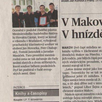 Klarinetový soubor získal zlaté pásmo v Bratislavě / MF Dnes Jižní Čechy 28.4.2015