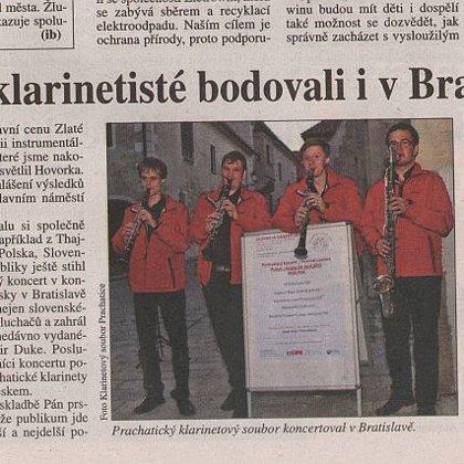 Prachatičtí klarinetisté bodovali v Bratislavě / Deník Právo Jihozápadní Čechy 29.4.2015