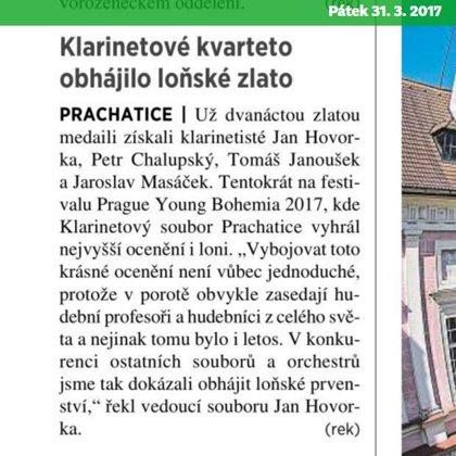 Klarinetové kvarteto obhájilo loňské zlato / 31.3.2017