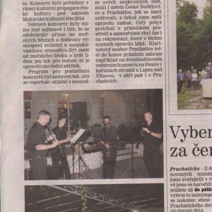 Klarinetový soubor koncertoval u moře / Prachatický deník 19.8.2014