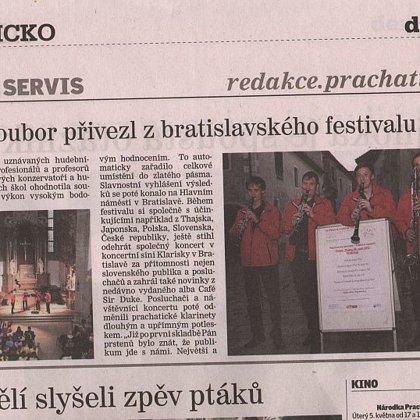 Klarinetový soubor přivezl z festivalu zlaté pásmo / Prachatický deník 29.4.2015