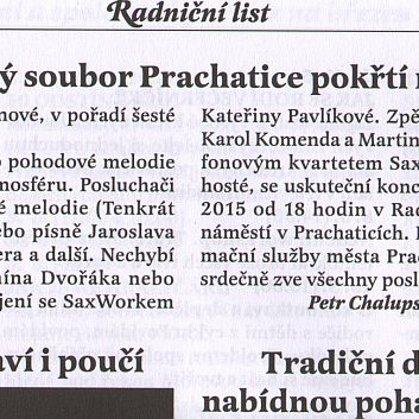 Klarinetový soubor Prachatice pokřtí nové CD / Radniční list Prachatice únor 2015