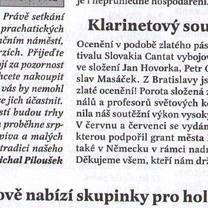 Klarinetový soubor posedmé zlatý / Radniční list Prachatice květen 2015