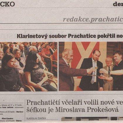 Klarinetový soubor Prachatice pokřtil nové CD / Prachatický deník 18.3.2015