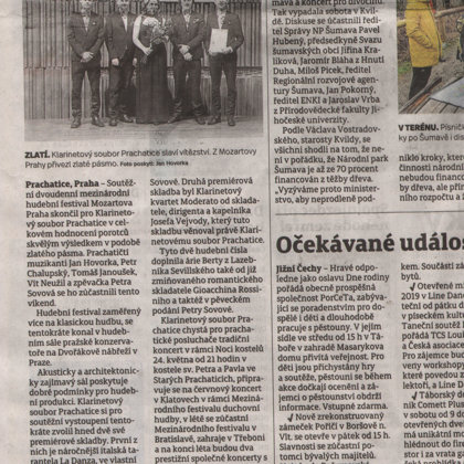 Klarinetový soubor přivezl z Prahy zlaté pásmo / Prachatický deník 13.5.2019