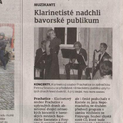 Klarinetisté nadchli bavorské publikum / Prachatický deník 11.9.2018