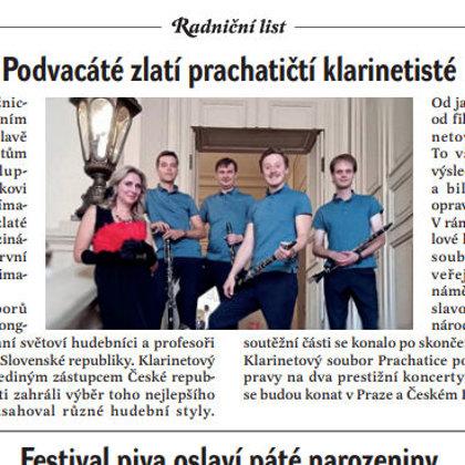 Podvacáté zlatí prachatičtí klarinetisté / Radniční list, srpen 2019