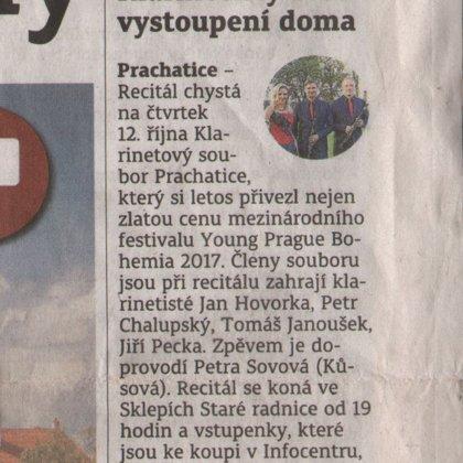 Klarinetisty čeká vystoupení doma / Prachatický deník 11.10.2017