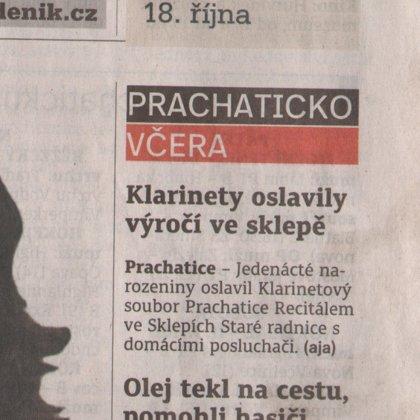 Klarinety oslavili výročí ve sklepě / Prachatický deník 13.10.2017
