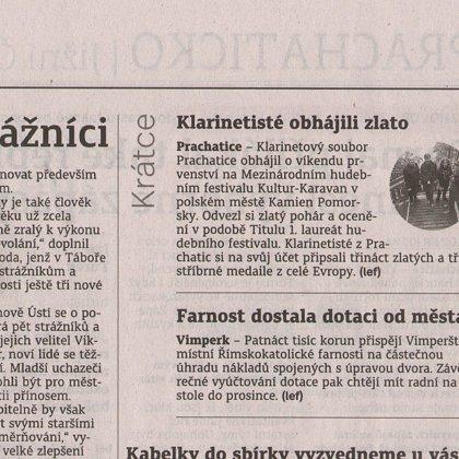 Klarinetisté obhájili zlato / Prachatický deník 26.7.2017