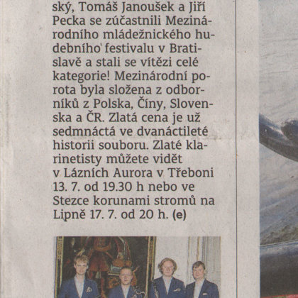 Prachatičtí klarinetisté přivezli zlato / Prachatický deník 10.7.2018