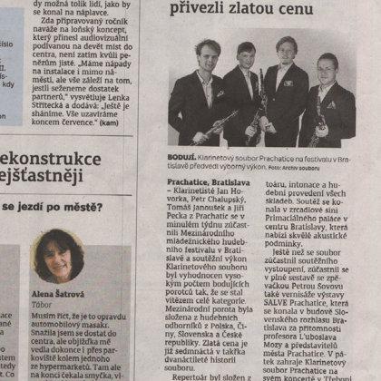 Z Bratislavy klarinetosté přivezli Zlatou cenu / Prachatický deník 11.7.2018