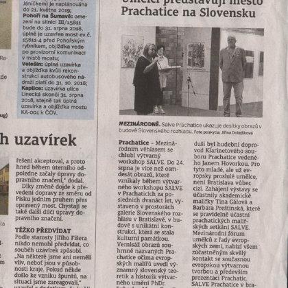 Umělci představují město Prachatice na Slovensku / Prachatický deník 12.7.2018