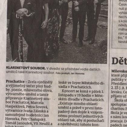 Umělci chystají vyjímečný večer / 23.10.2019, Prachatický deník