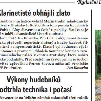 Klarinetisté obhájili zlato / Radniční list Prachatice srpen 2018