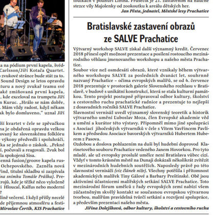 Bratislavské zastavení ze Salve / Radniční list Prachatice srpen 2018