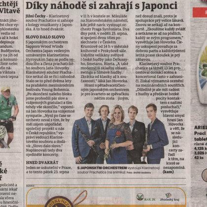 Díky náhodě si zahrají s Japonci / Českokrumlovský deník 21.8.2019