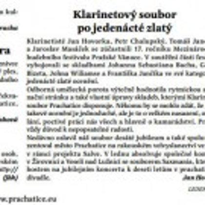 Klarinetový soubor po jedenácté zlatý / Radniční list Prachatice leden 2017