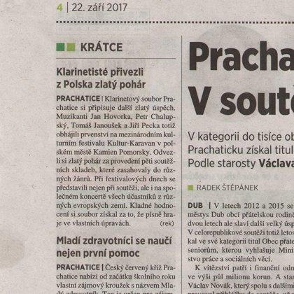 Klarinetisté přivezli z Polska zlatý pohár / 5+2 Šumava 22.9.2017