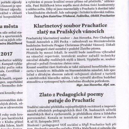 Klarinetový soubor Prachatice zlatý na Pražských vánocích / Radniční list Prachatice / prosinec 2017