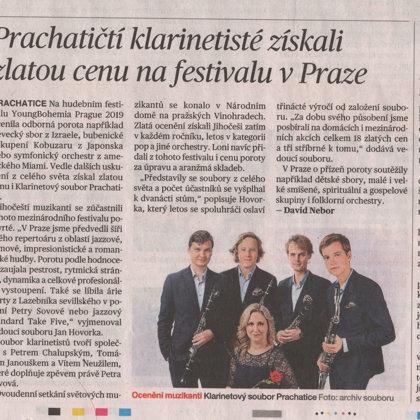 Prachatičtí klarinetisté získali zlatou cenu na festivalu v Praze / Mladá Fronta Dnes 26.3.2019