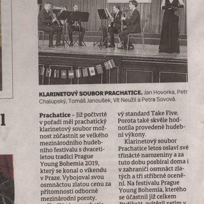 Prachatičtí klarinetisté mají osmnáctou medaili / Prachatický deník 26.3.2019