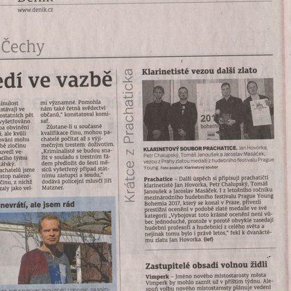 Klarinetisté vezou další zlato / Prachatický deník 28.3.2017