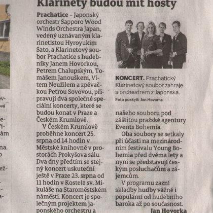 Klarinety budou mít hosty / Prachatický deník, 13.8.2019