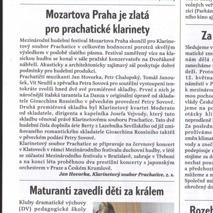 Mozartova Praha zlatá pro prachatické klarinety / Radniční list Prachatice, červen 2019