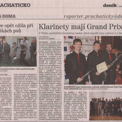 Klarinety mají Grand Prix / Prachatický deník U nás doma 5.8.2015