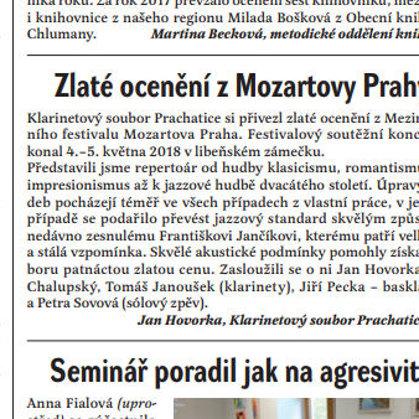 Zlaté ocenění z Mozartovy Prahy / Radniční list Prachatice, červen 2018