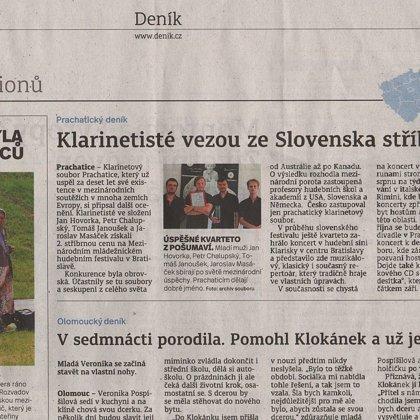Klarinetosté vezou ze Slovenska stříbro / Českobudějovický deník 11.7.2016