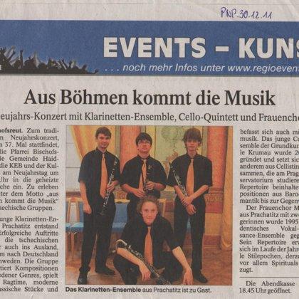 Aus Böhmen kommt Musik / Passauer Neue Presse - Kunst, 30.12. 2011