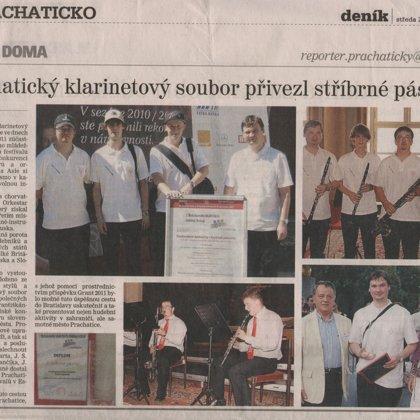 Prachatický klarinetový soubor přivezl stříbrné pásmo / Prachatický deník 20.7.2011