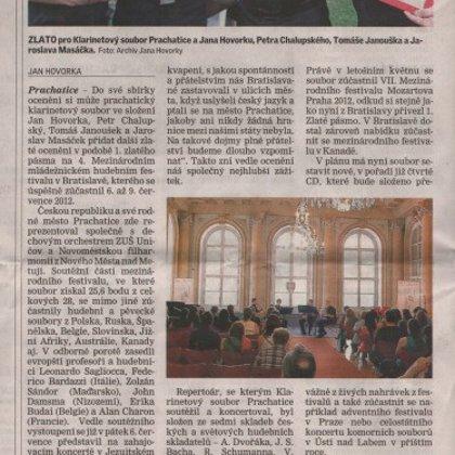 Klarinetový soubor přivezl z Bratislavy pod Libín zlato / Prachatický deník 12.7.2012
