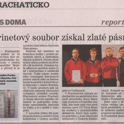 Klarinetový soubor získal zlaté pásmo / Prachatický deník 17.10.2013
