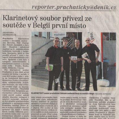 Klarinetový soubor přivezl ze soutěže v Belgii první cenu / Prachatický deník 10.5.2013