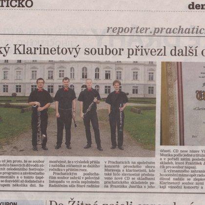 Prachatický klarinetový soubor přivezl další ocenění / Prachatický deník 10.12.2013
