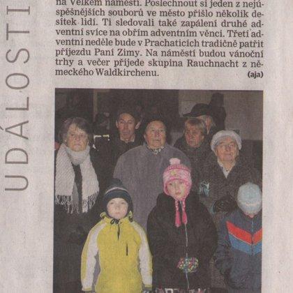Klarinety zněly druhým adventem / Prachatický deník 10.12.2013