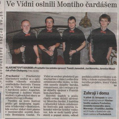 Ve Vídni oslnili Montiho čardášem / Českobudějovický deník 6.11.2013