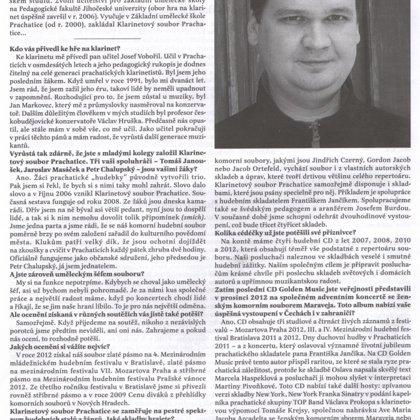 Rozhovor s Klarinetovým souborem Prachatice / Radniční list Prachatice leden 2013