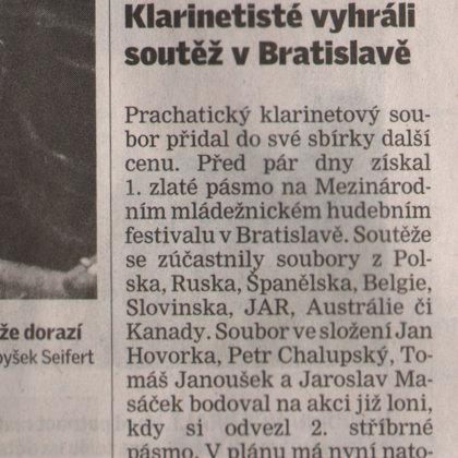 Klarinetisté vyhráli soutěž v Bratislavě / Českobudějovický deník 12.7.2012