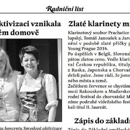 Zlaté klarinety míří na další festivaly / Radniční list Prachatice červen 2014