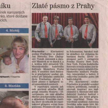 Zlaté pásmo z Prahy / Pracharický deník 11.5.2012